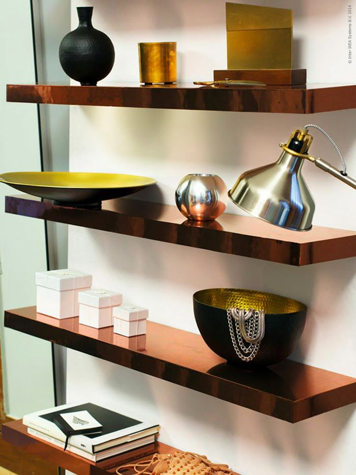 ikea shelves covered with copper contact paper