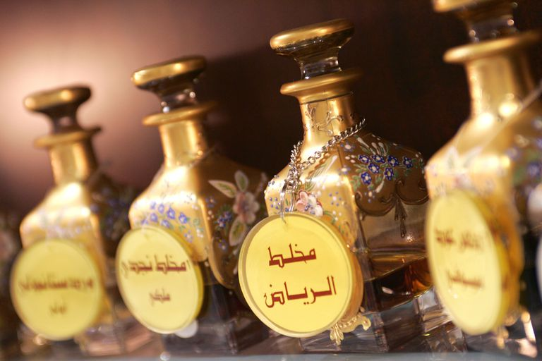 Bottles of oud perfume in a perfumery in Qatar