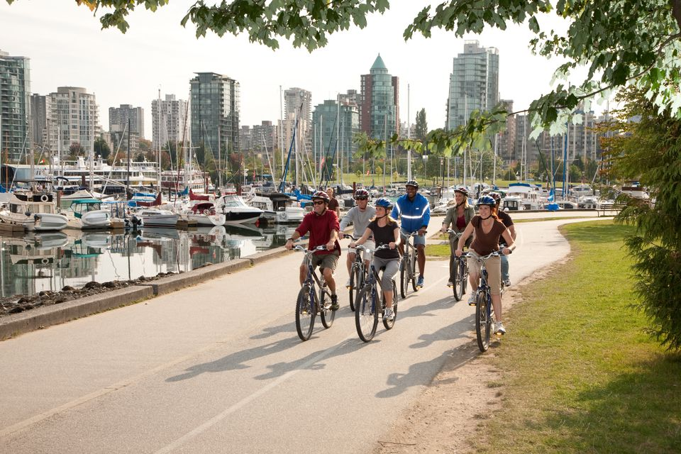 Cycling on the Seawall in Vancouver