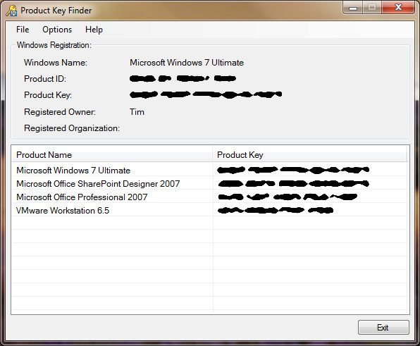 Screenshot of Product Key Finder v1.0 in Windows 7