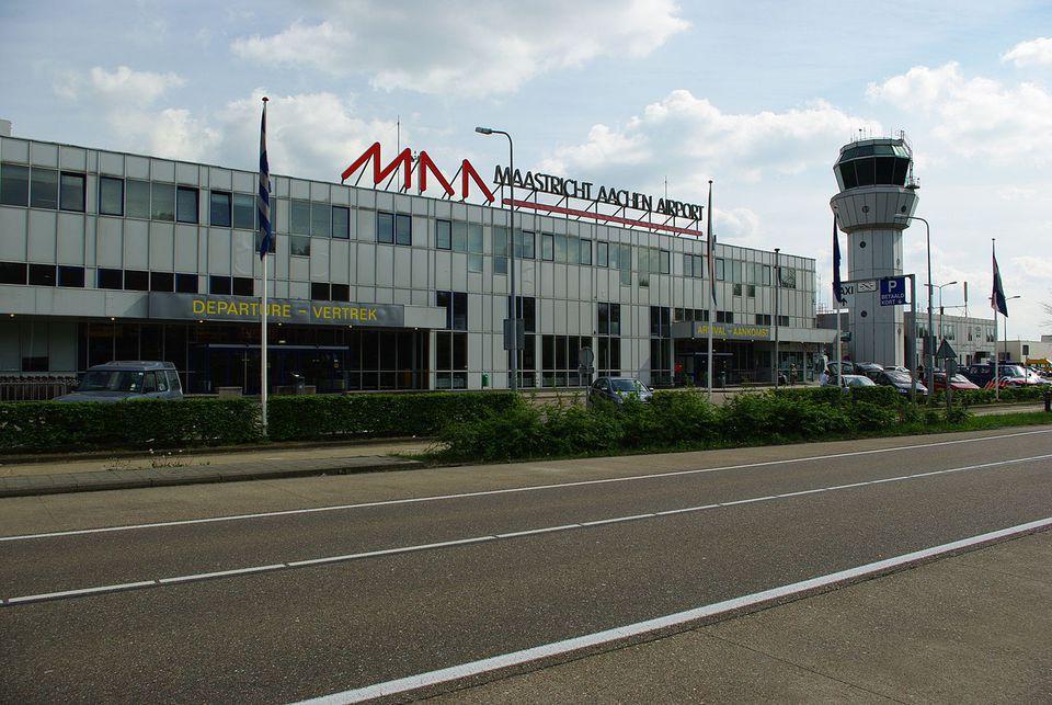 The exterior of Maastricht Aachen Airport