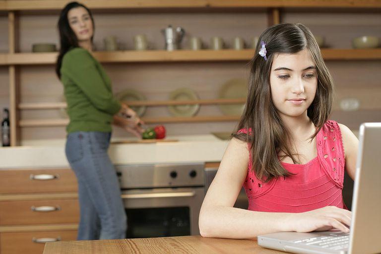 Mom girl kitchen