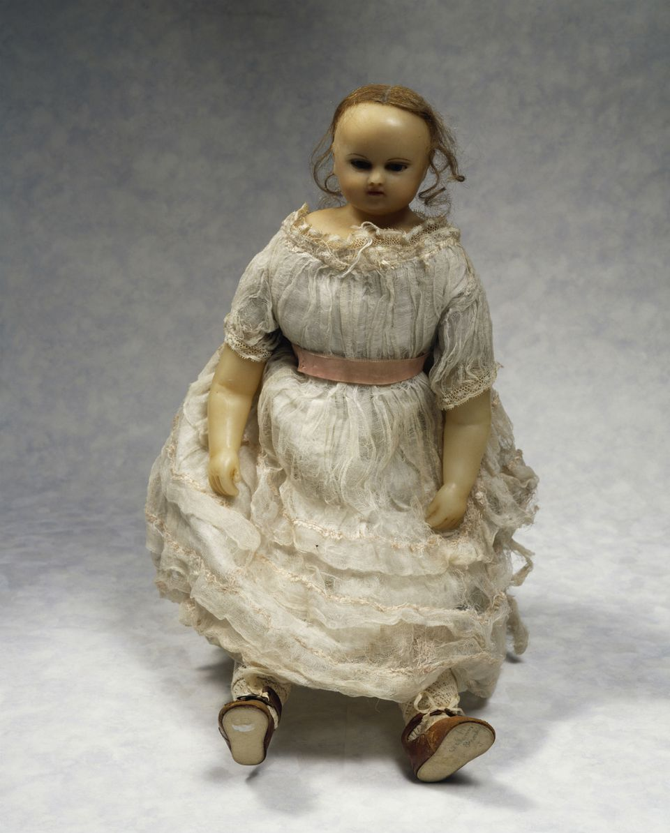 Doll with cloth body and wax head and limbs, 1860, made by Montanari, England, 19th century