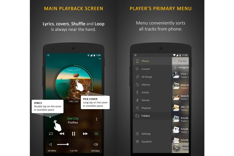 Images of screenshots of the Stellio Music Player app on a smartphone