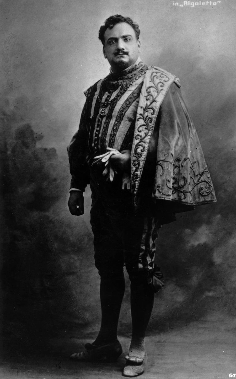 circa 1890: Tenor, Enrico Caruso (1873 - 1921) in costume for Rigoletto.