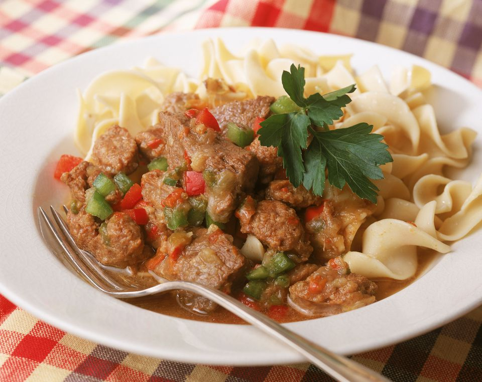Hungarian goulash with egg noodles