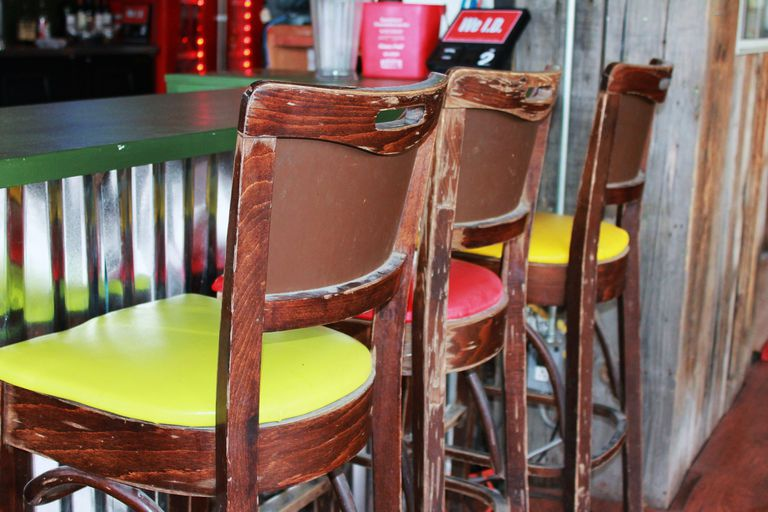 Colorful chairs at restaurant