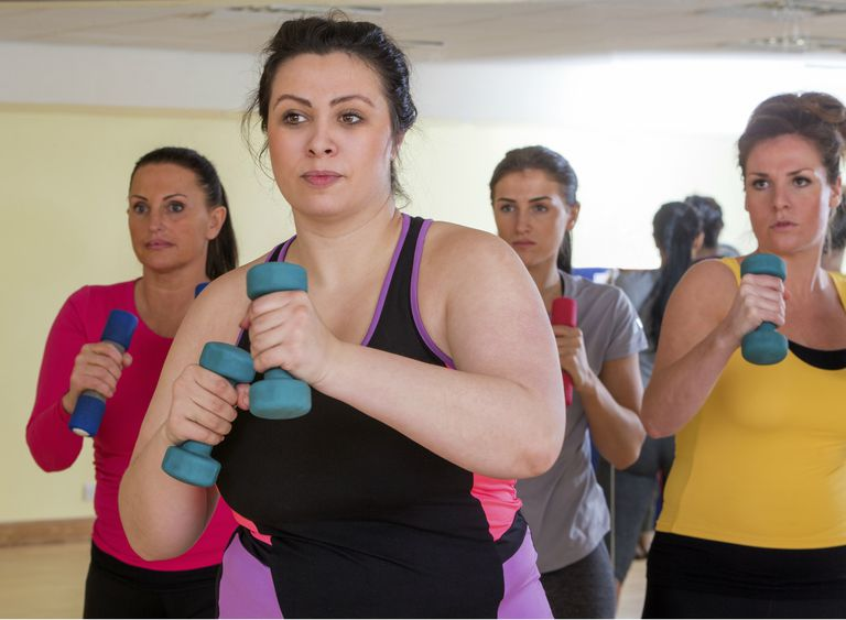Womens Gym Fitness Class Using Weights