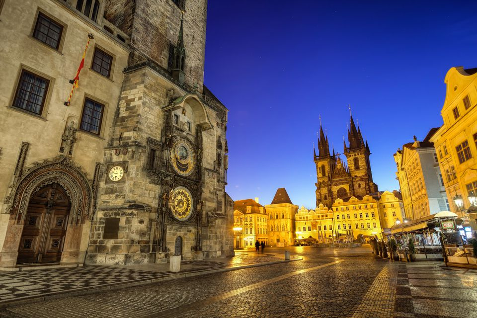 Astronomical clock at the Old town square in Prague. Taken early in the morning.