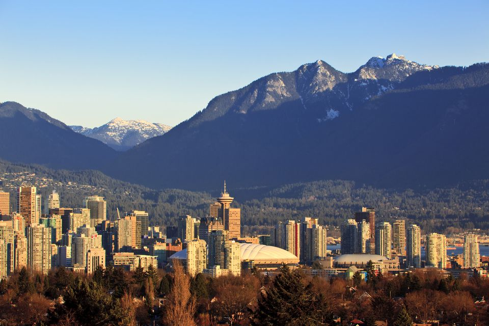 The Vancouver skyline with the North Shore mountains beyond, December 2009. Vancouver British Columbia Canada.