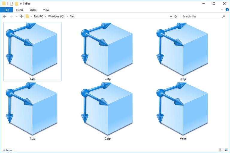 Screenshot of several STP files