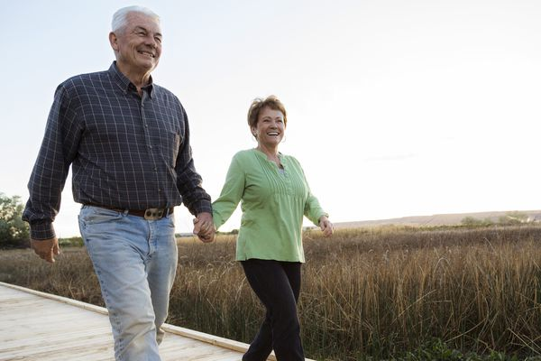 A senior couple out for a walk.