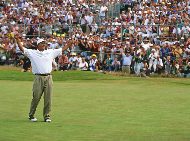 The moment of Victory for Tom Lehman during the 1996 Open Championship at the Royal Lytham and St. Annes Golf Course