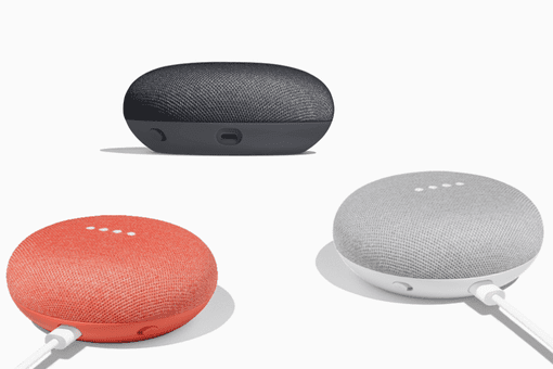 Picture of a black, red, and grey Google Home Mini