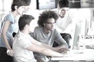Business training at computer workstations.