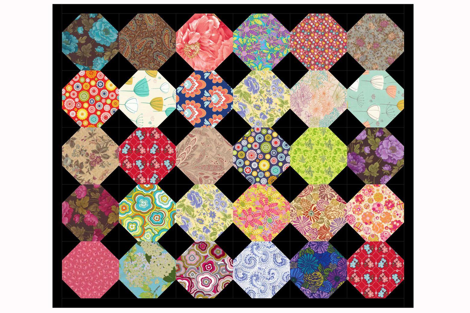 Quilt Patterns Snowball Block : Floral Snowball Quilt Block and Quilt Pattern