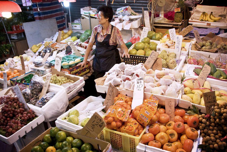 A wet market in Hong Kong's SOHO district.