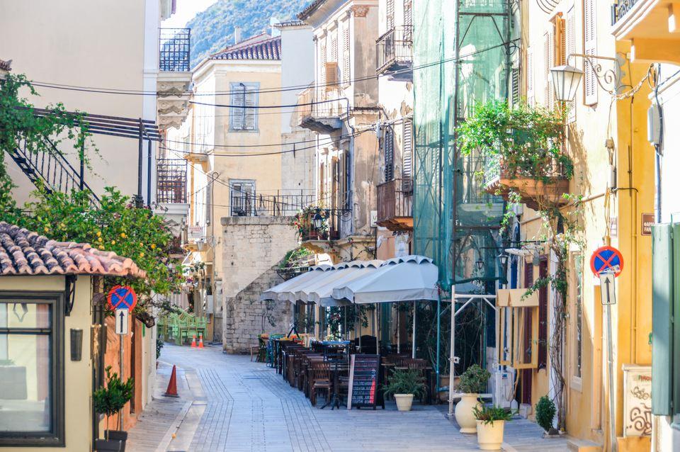 Colorful streets of Greek town - Nafplio, Greece