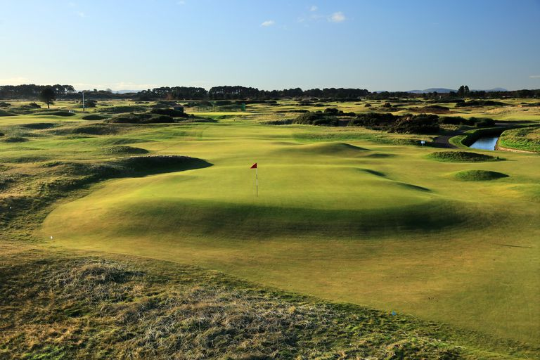 The 16th green on the Championship Course at Carnoustie Golf Links.