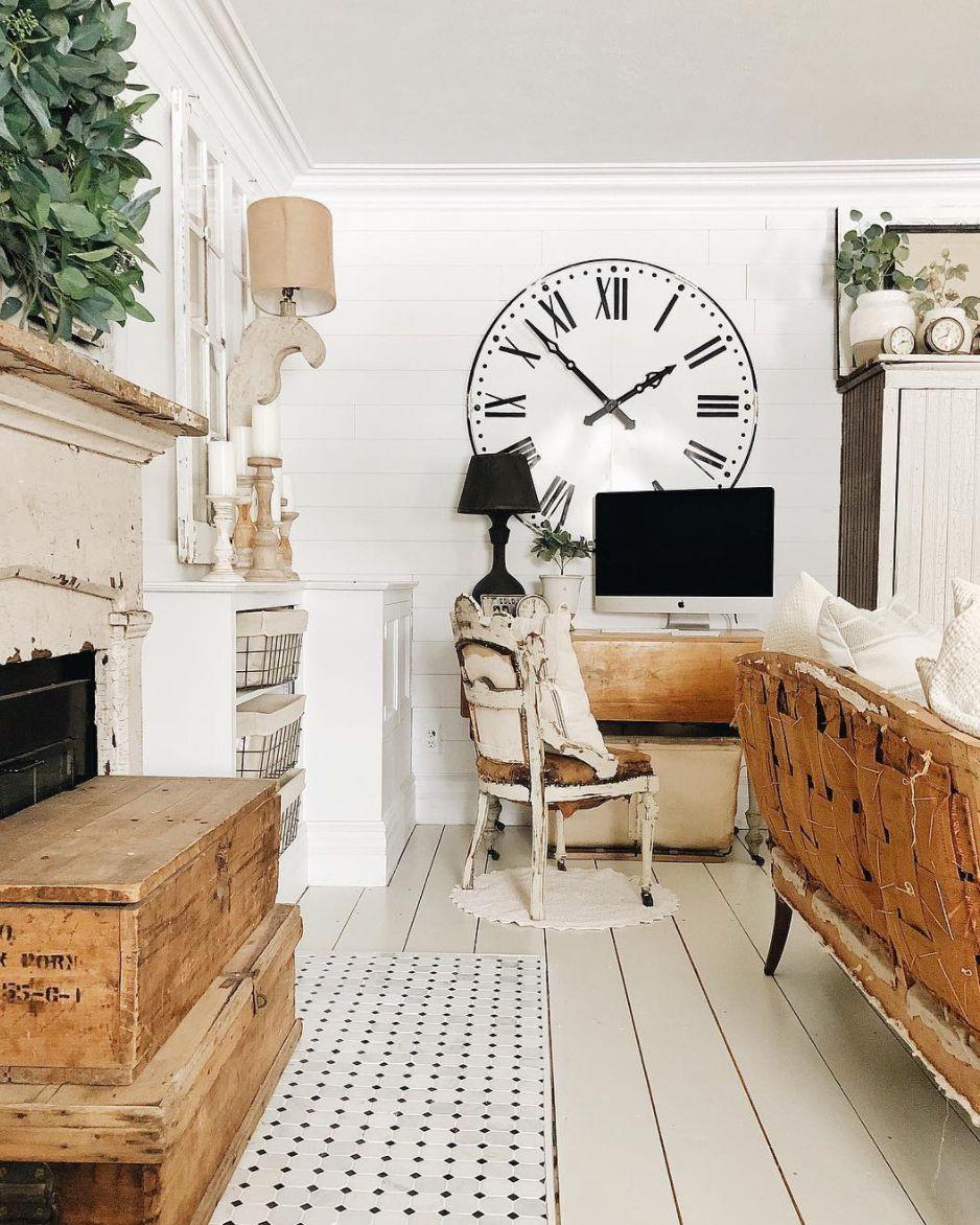 shiplap floors in a living room