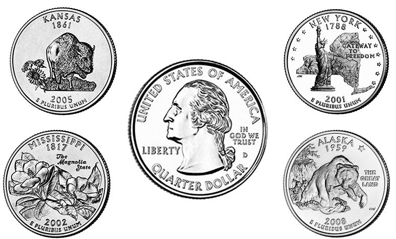 State Quarters DC US Territories Coin Values - Complete 50 state quarter set