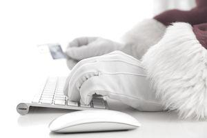 Santa shopping online on Black Friday
