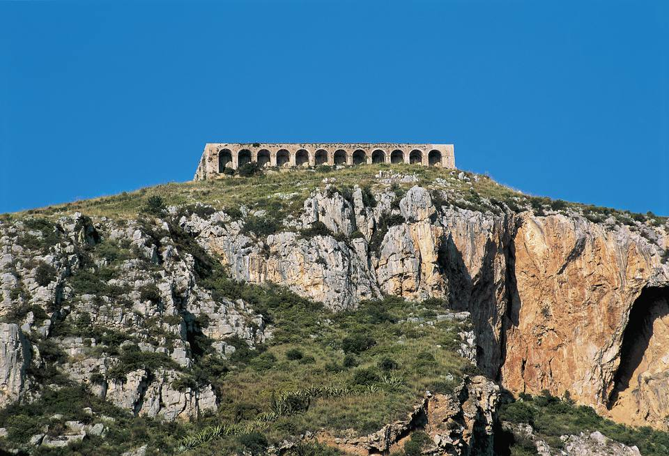 Low angle view of a temple on a hill, Temple Of Jupiter Anxur, Terracina, Lazio, Italy