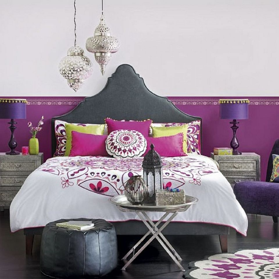 Purple And Silver Boho Bedroom