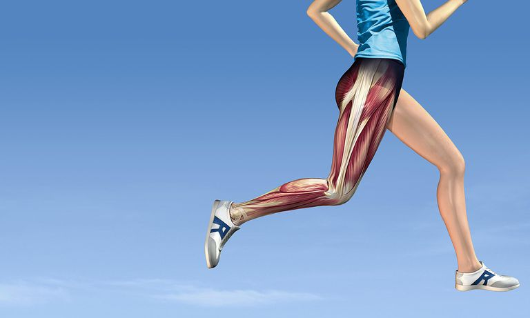 Photo of woman running with hip muscles exposed.