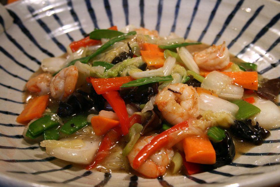 Shrimp and Stir-fried vegetables
