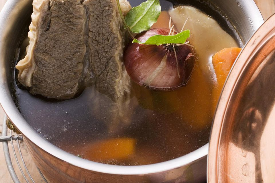A bowl of beef consommé