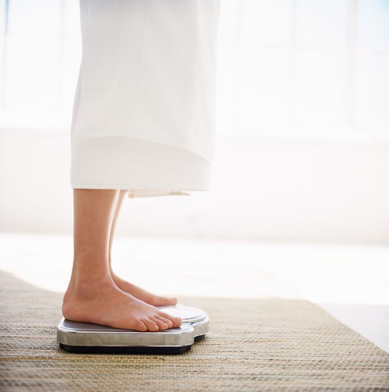 Close-up of a woman's feet on a weighing scale