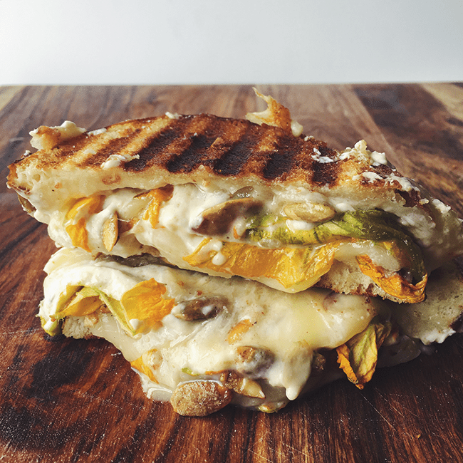 Grilled Cheese with Truffled Taleggio and Squash Blossoms