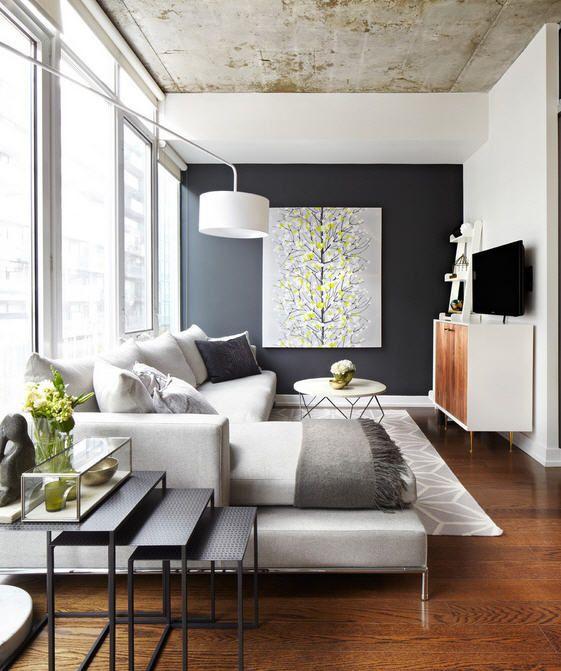 Modern Furniture Arrangement In A Narrow Living Room