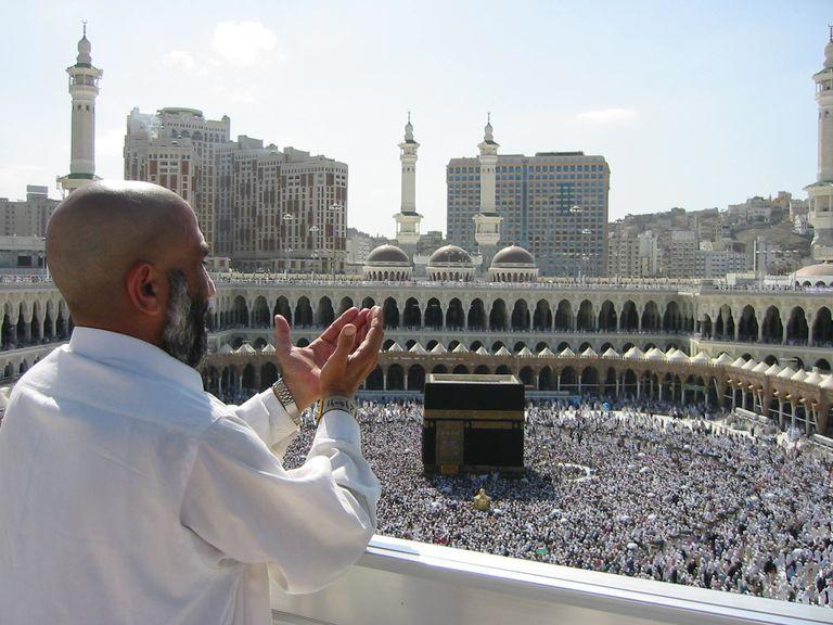 Pilgrim in supplication at Masjid al-Haram