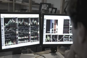 Daytrader at his computer