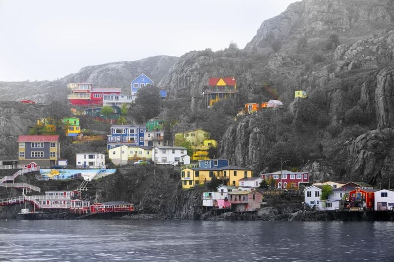 Brightly colored houses near ocean