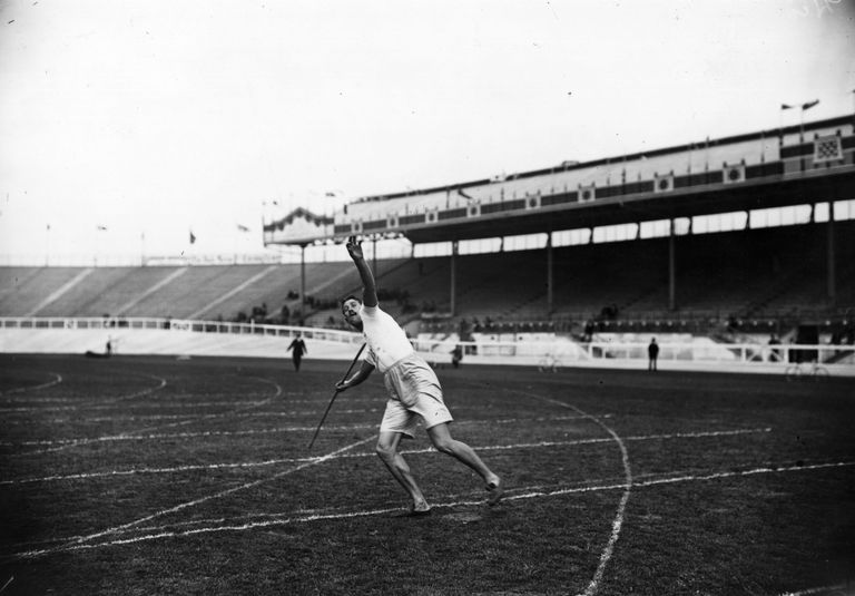 Eric Lemming works out during the first Olympic javelin throw competition, in 1908. Lemming went on to earn the gold medal.