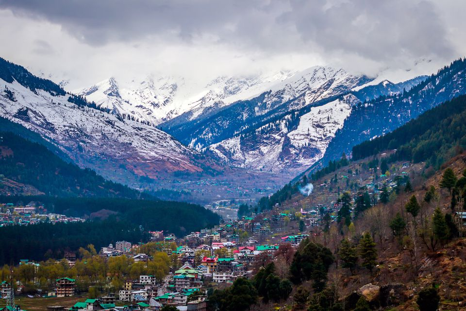 View of snow clad Himalayas mountains from Manali in Himachal Pradesh,India