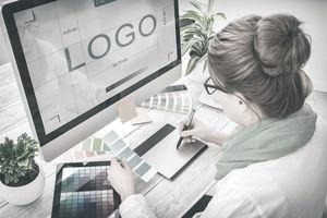 A graphic designer at work