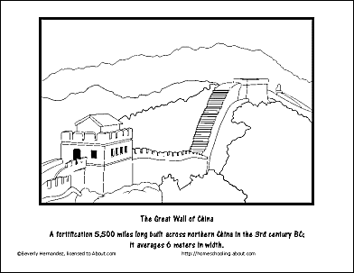 the great wall of china coloring page - Great Wall China Coloring Page