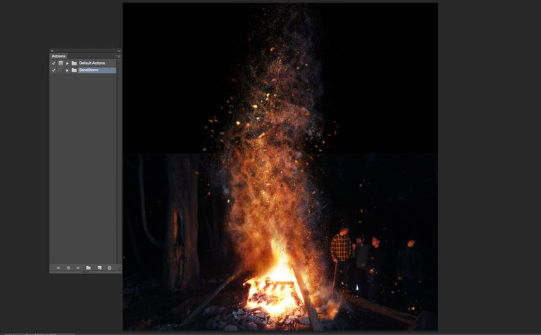 The andstorm action applied to an image of a campfire.