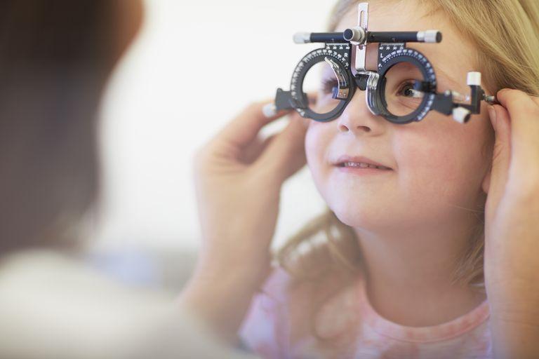pediatric eye exam - girl at eye doctor