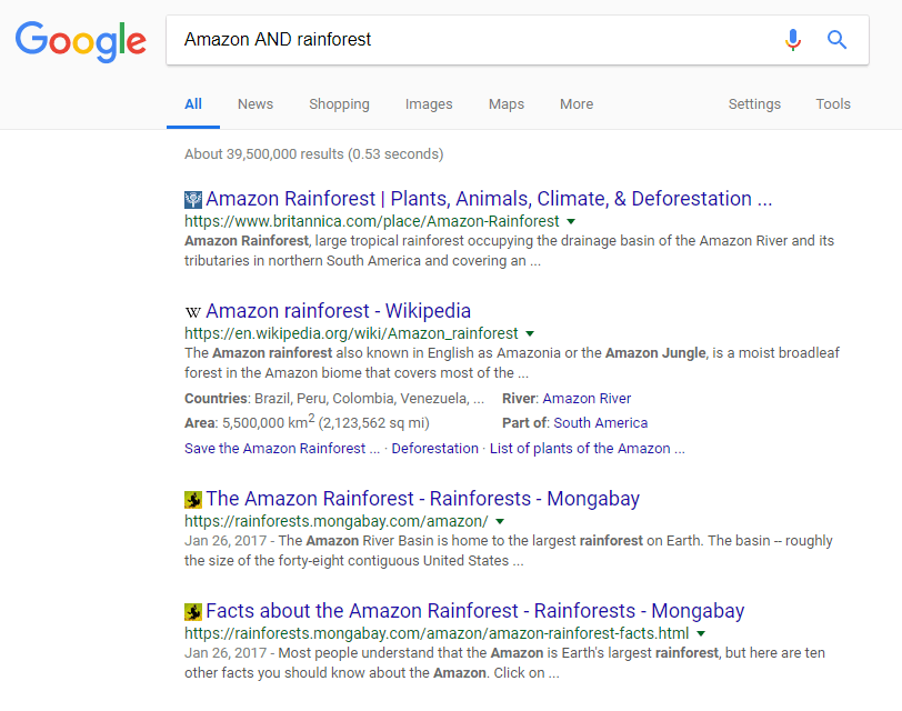Screenshot showing how to use the AND Boolean operator on Google