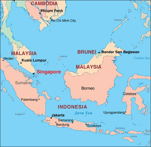 Faq about singapores location and history where is singapore map showing its location on the tip of the malay peninsula publicscrutiny Images