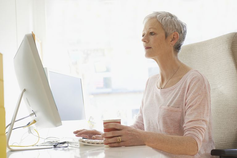 mature woman using computer