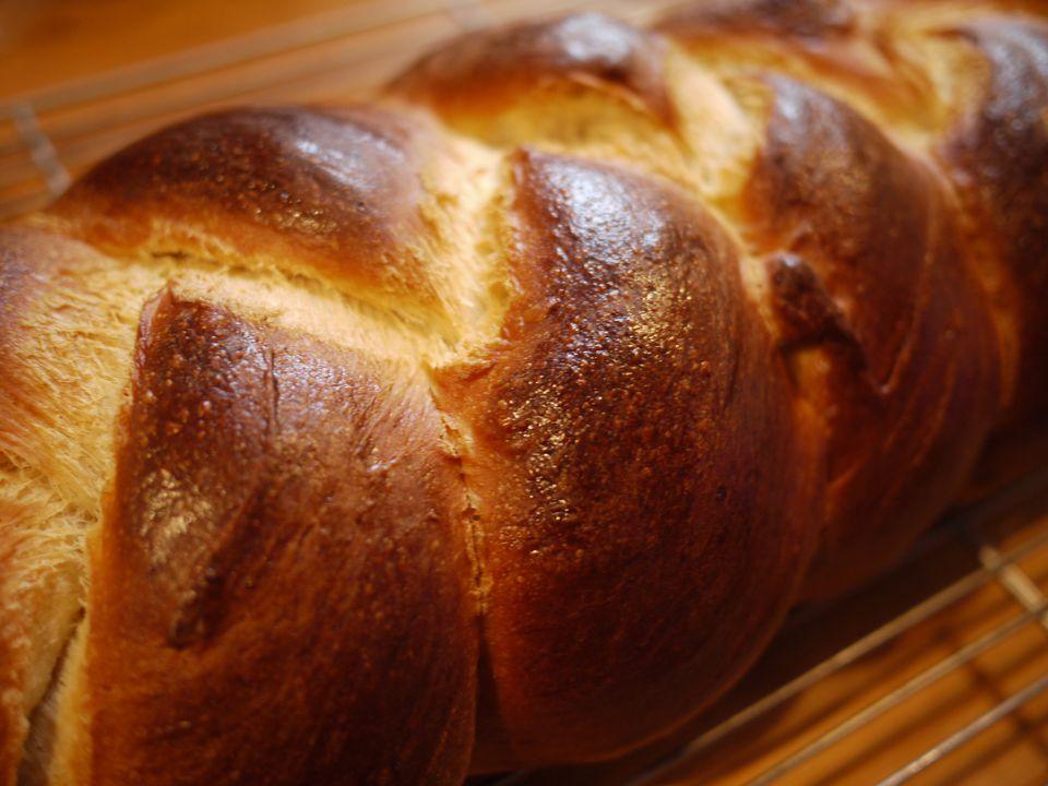 A closeup of challah bread