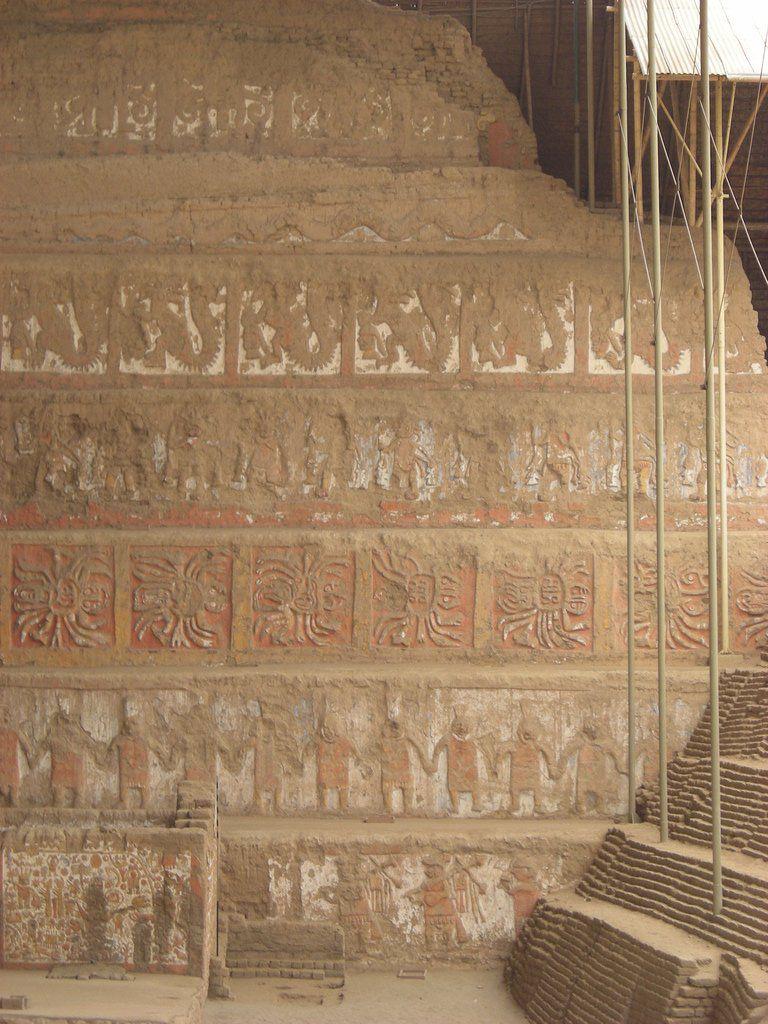 Sculptured Wall Terraces at Huaca de la Luna (Peru)