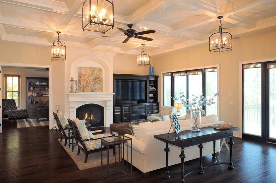 15 beautiful living room lighting ideas for Living room ceiling light fixture