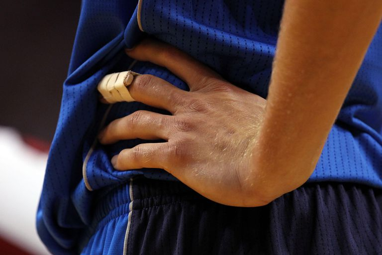A detail of a splint on the finger of Dirk Nowitzki #41 of the Dallas Mavericks against the Miami Heat in Game Two of the 2011 NBA Finals at American Airlines Arena on June 2, 2011 in Miami, Florida.